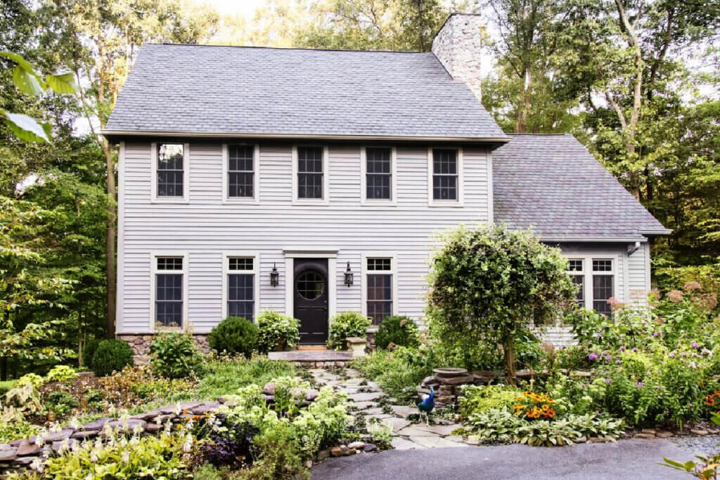 This new build saltbox farmhouse is in Maryland.