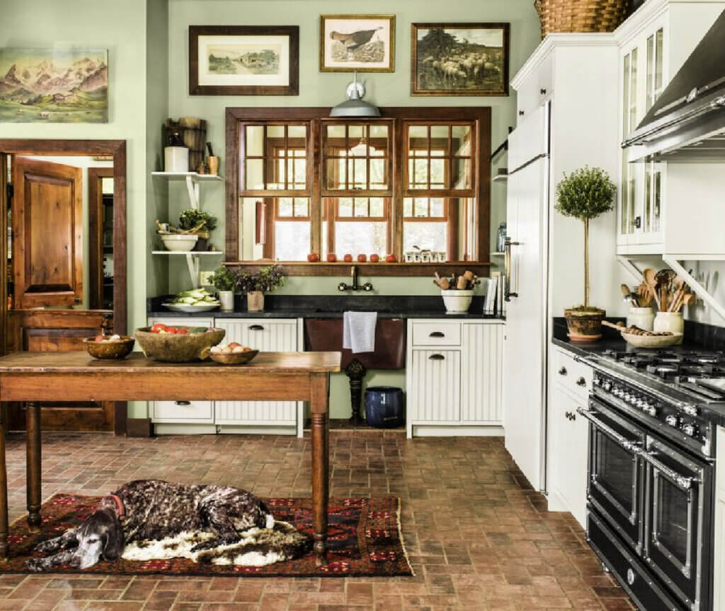 The kitchen is new but looks old in this Maryland farmhouse.