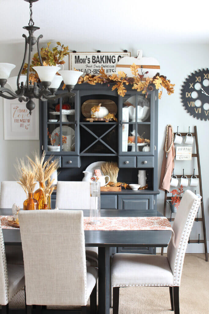 The Clean & Scentsible blog has a post on fall decorating. It shows her dining room all spruced up for fall.