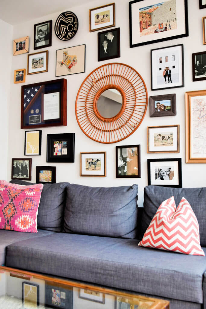 The living room in Heather's stylish Washington DC apartment has a nice gallery wall.