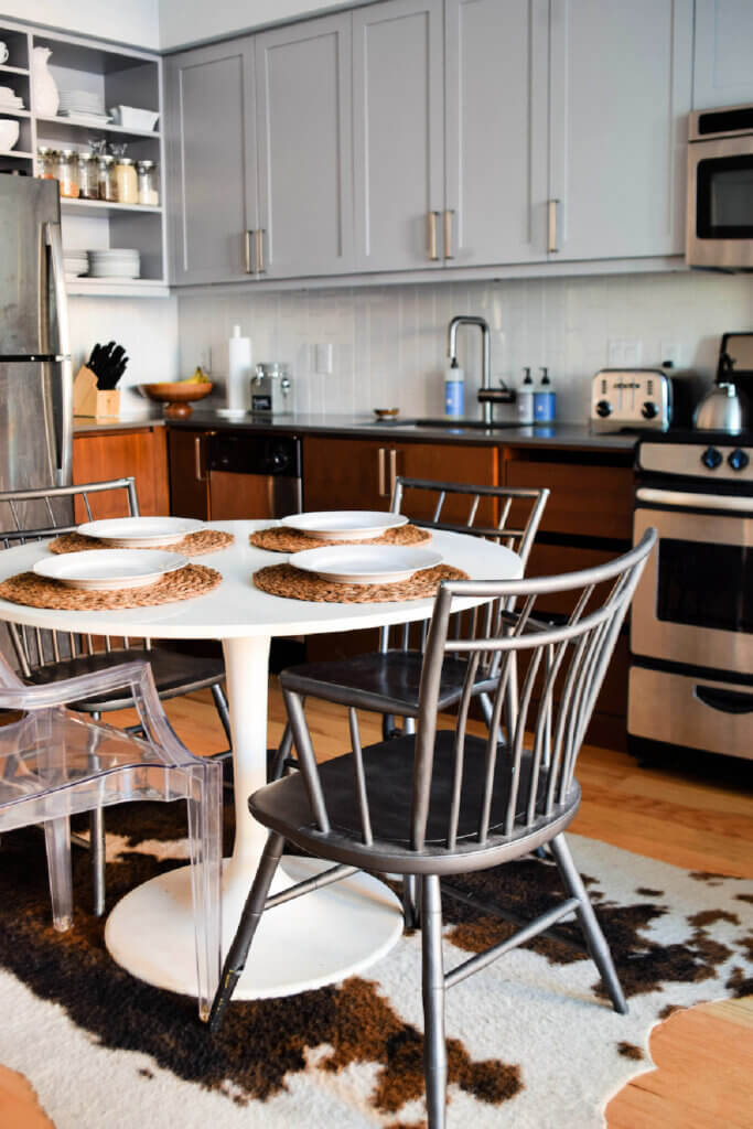 The small kitchen in her stylish Washington DC apartment is small but has everything they need.