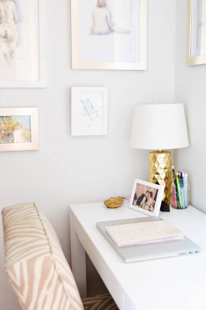 A desk and chair in her stylish Washington DC apartment gives her a space to work remotely.