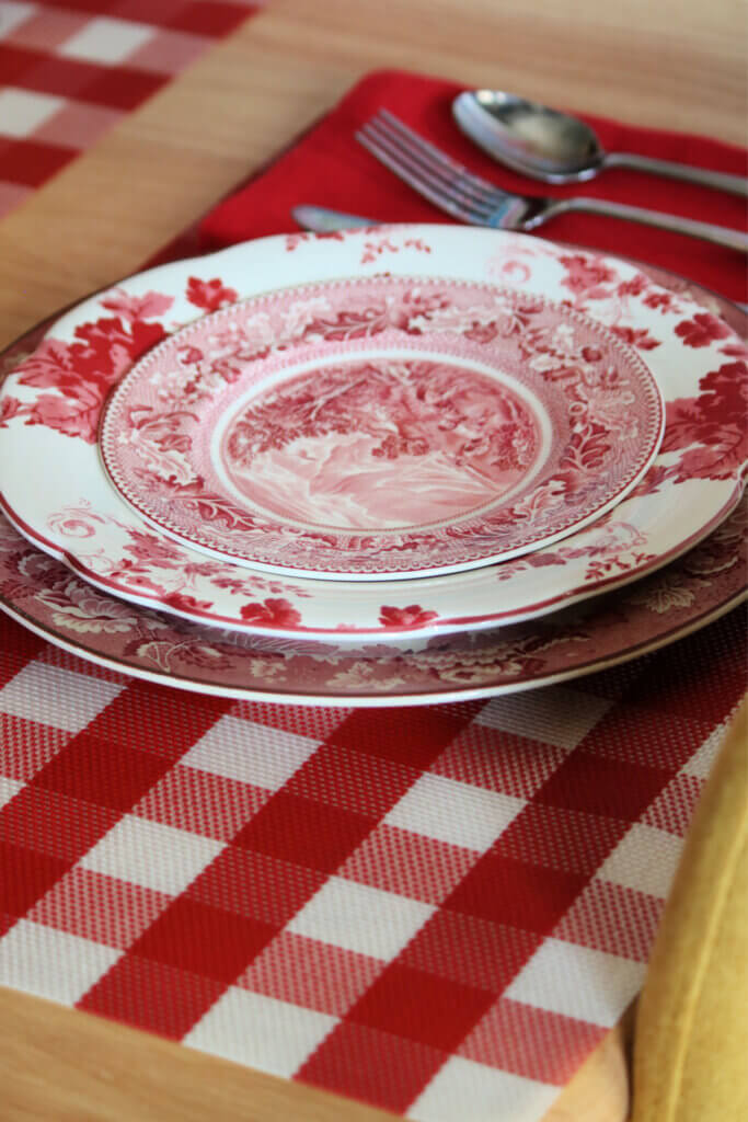 Photo of a red and white tablescape