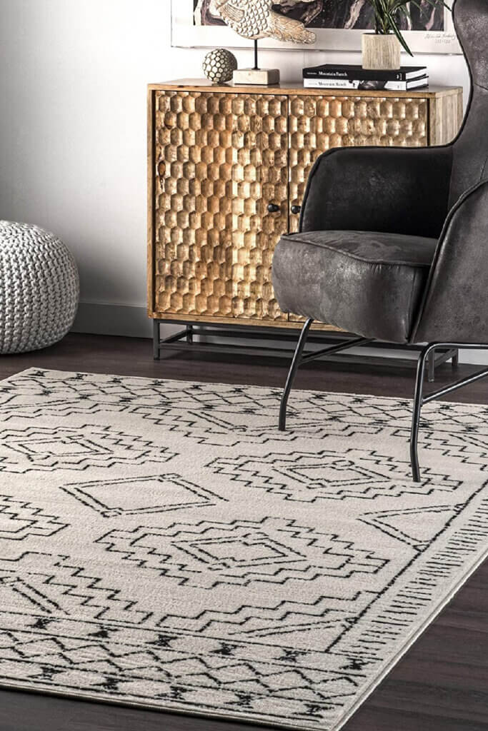 This more muted area rug, cream and black, has a more boho look