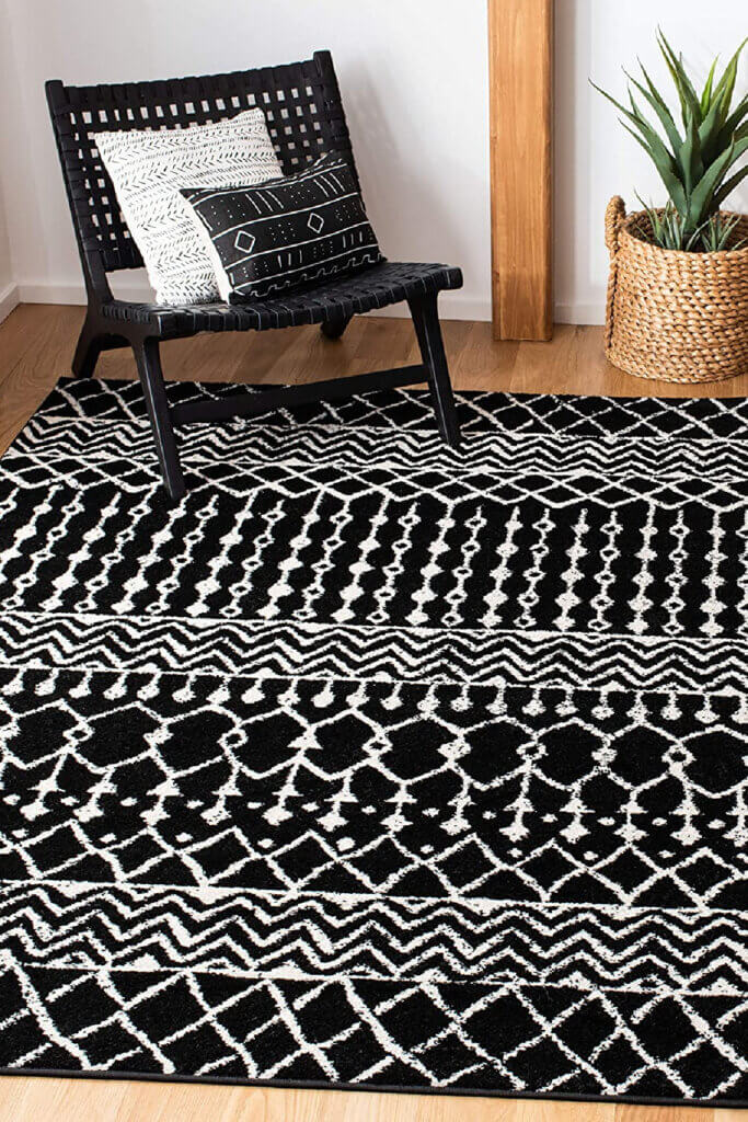 In how to choose an area rug, I say black and white will always work