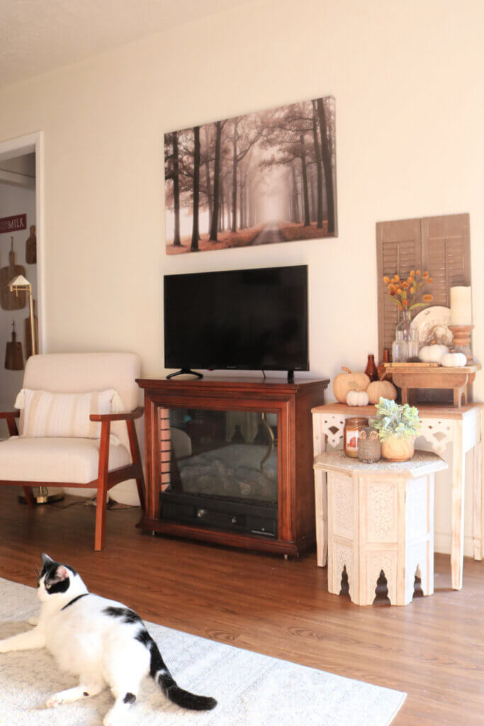 Ivy appears in this photo of one wall of my living room. A chair, my TV on a portable fireplace, and two tables with vignettes.