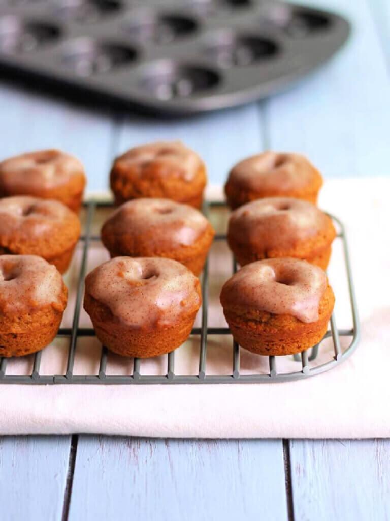 Cinnamon Glazed Whole Wheat Mini Pumpkin donut recipe by Toaster Oven Love