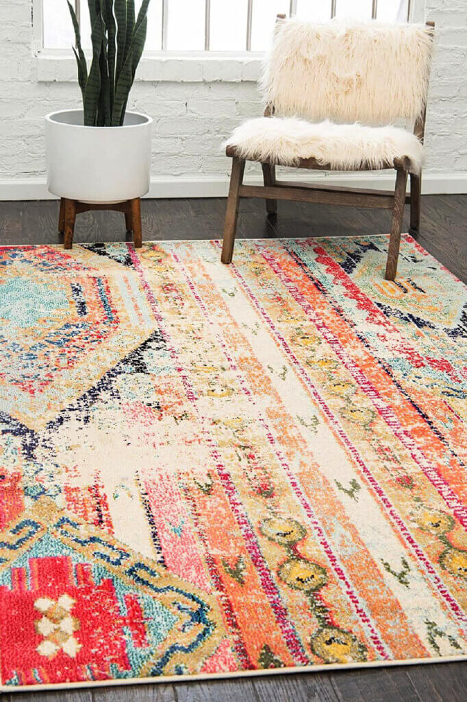 This rug is more colorful in vertical patterns, and would go well with neutral colored furniture
