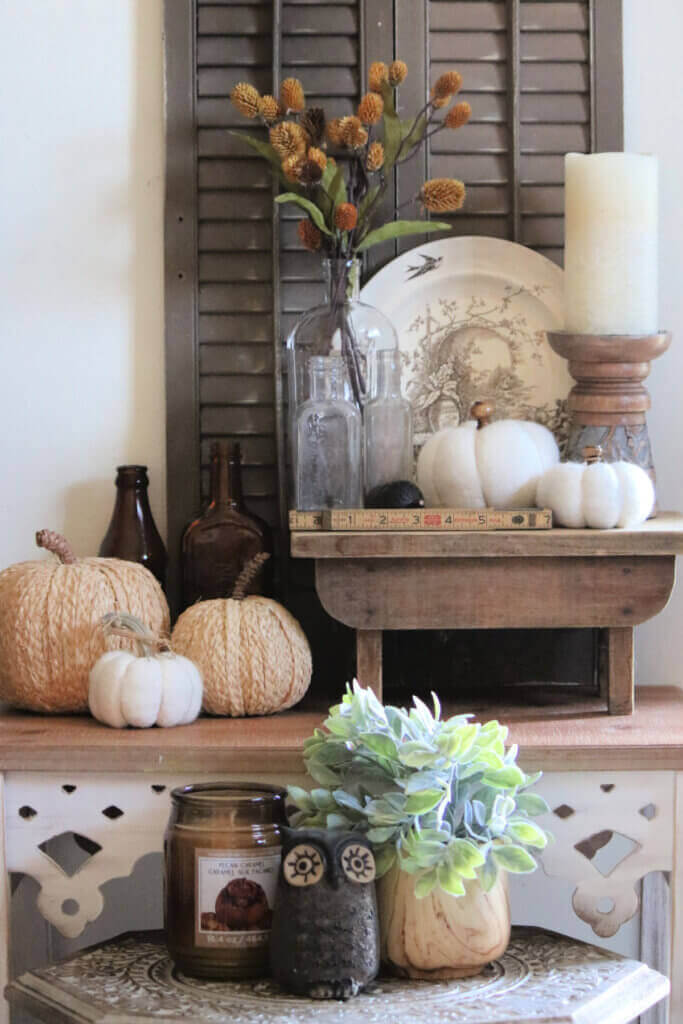 Fall decor in my living room as I show fall in my apartment