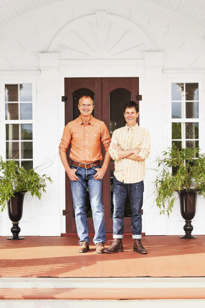 The vintage and modern New York farmhouse is owned by Josh and Brent.