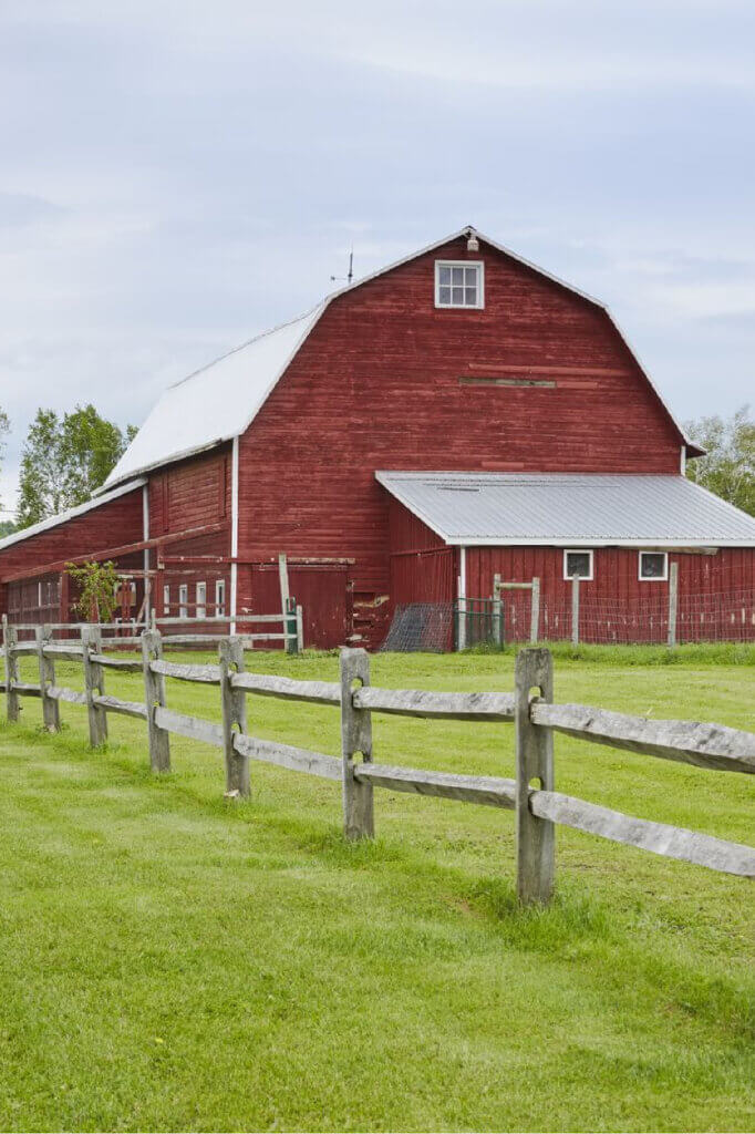 The red barn is a focal point of the property.