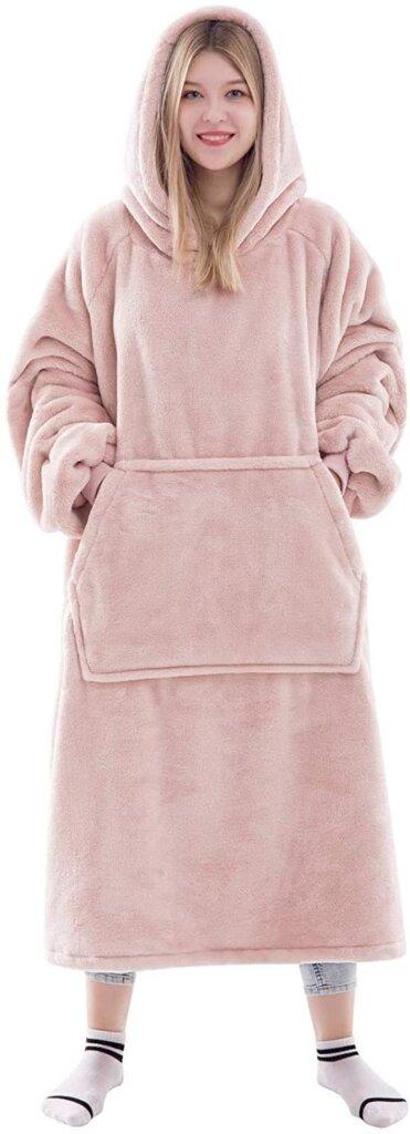 A pink blanket sweatshirt will keep you warm on cold nights